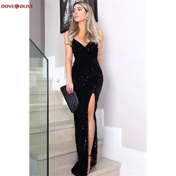 цена на Black Evening Dresses Sequin Long 2020 Sexy Front Slit Deep V-Neck Fashion Spaghetti Straps Sleeveless Mermaid Prom Gown Party