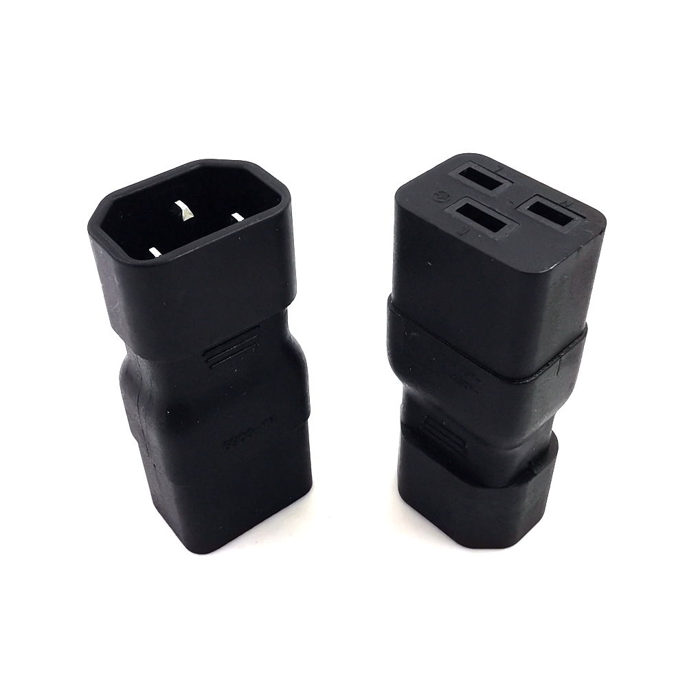 IEC 320 C19 To C14 AC Power Adapter Plug, Connect C20 To C13 Power Male To Female Converter 10A 250V Black