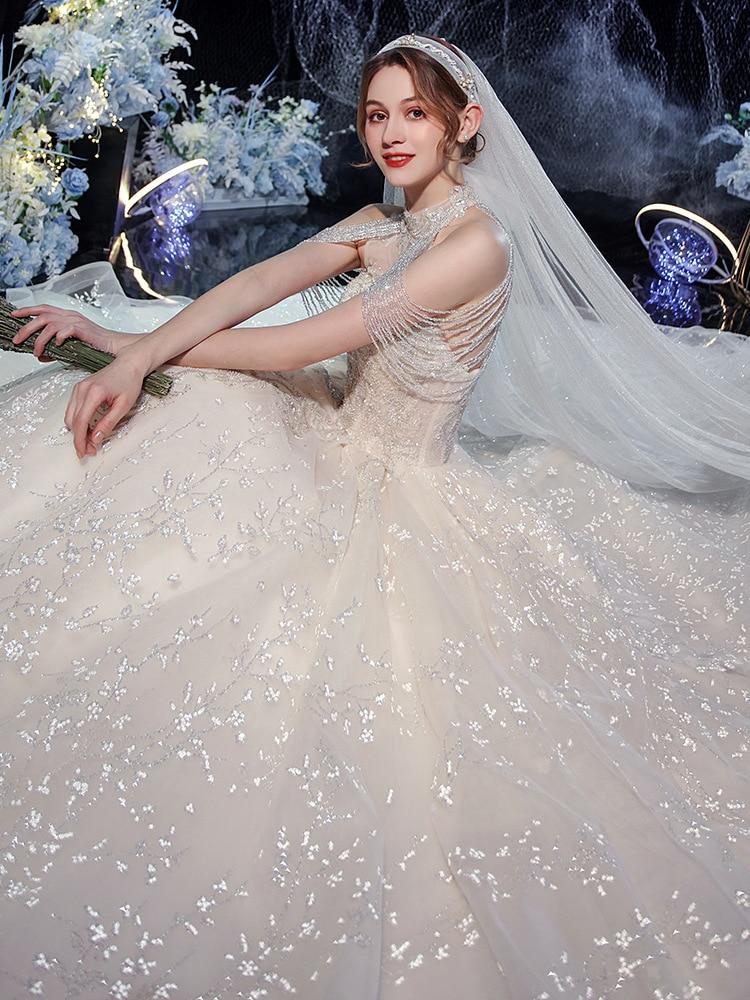 Wedding Dress 2020 Mrs Win Elegant High Neck Luxury Beading Ball Gown Off The Shoulder Princess Vestido De Noiva