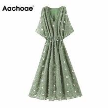Aachoae Women Polka Dot Chiffon Long Dresses Summer V Neck Split Sexy Party