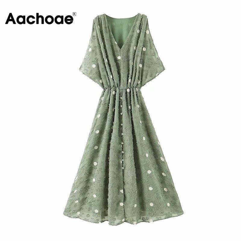 Aachoae Women Polka Dot Chiffon Long Dresses Summer V Neck Split Sexy Party Dress 2020 A Line Sleeveless Vintage Casual Dress