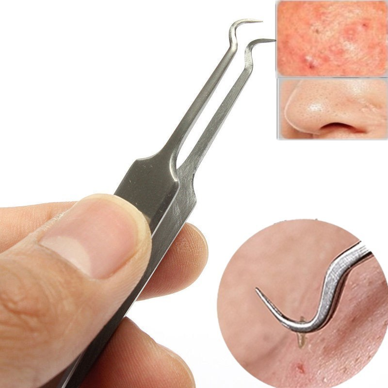 Curved Face Hook Mouth Acne Needle Clip Extractor Blackhead Acne Remover Tweezer Needle Tool