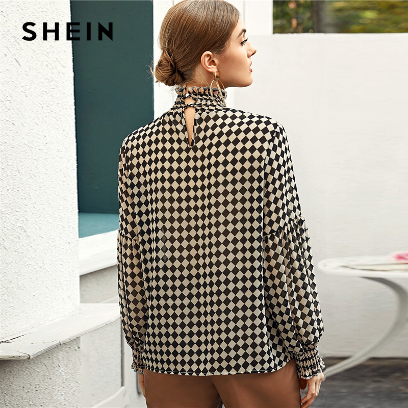 SHEIN Multicolor Frill Shirred High Neck Checkerboard Blouse Top Women Spring Lantern Sleeve Office Lady Plaid Elegant Blouses 2
