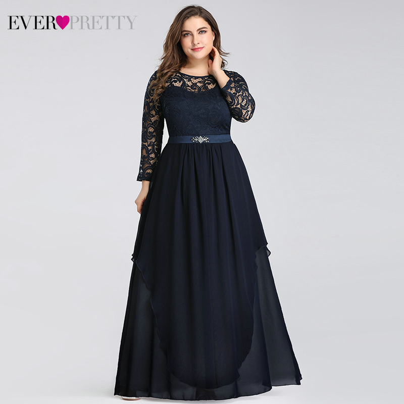 Plus Size Lace Mother Of The Bride Dresses Ever Pretty A-Line O-Neck Full Sleeve Beaded Elegant Party Gowns Vestido De Madrinha