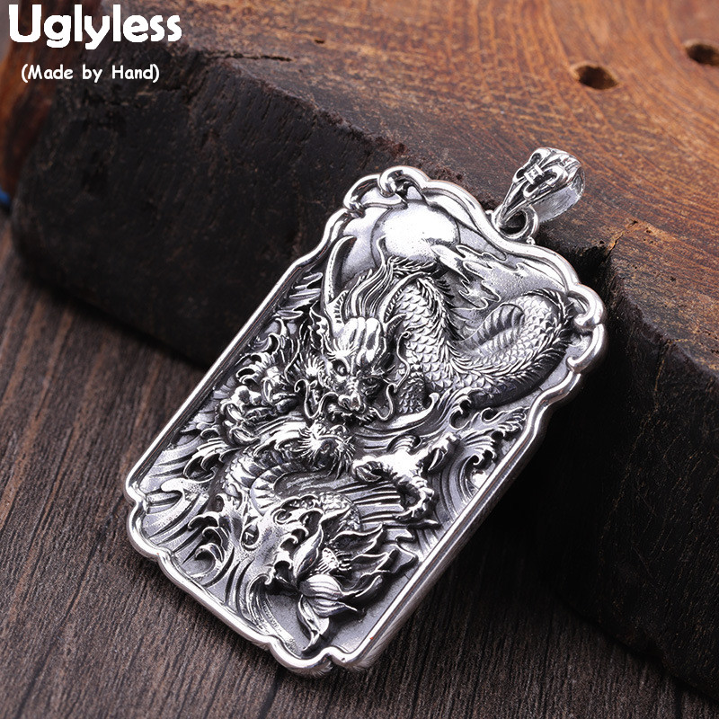 Uglyless Real 990 Silver Dragon Pendants For Men 925 Silver Jewelry Cool HIP HOP PUNK Square Necklaces NO Chain Thai Silver P816