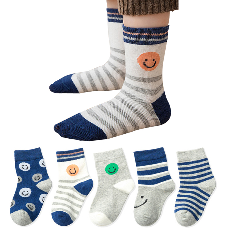 5pairs/lot Autumn Winter New Kids Cotton Socks Boy Girl Baby Infant Cute Cartoon Car Soft Socks,For 1-12T Children Gifts CN
