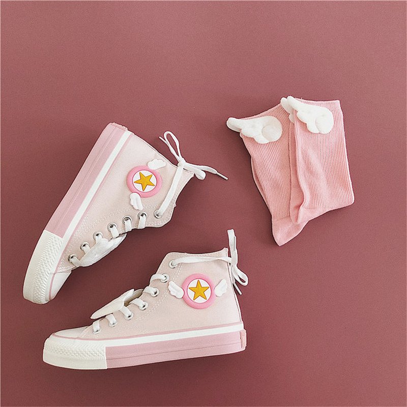 Card Captor Rubber Shoes Cosplay Sailor Moon Pink Schoolgirl Shoes Anime Adult Lovers Shoes Christmas Gift