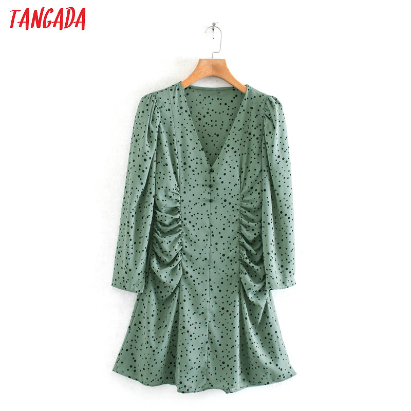 Tangada Fashion Women Dots Print Light Green Mini Dress Tunic Long Sleeve Ladies Waist Pleated Short Dress Vestidos 2XN21