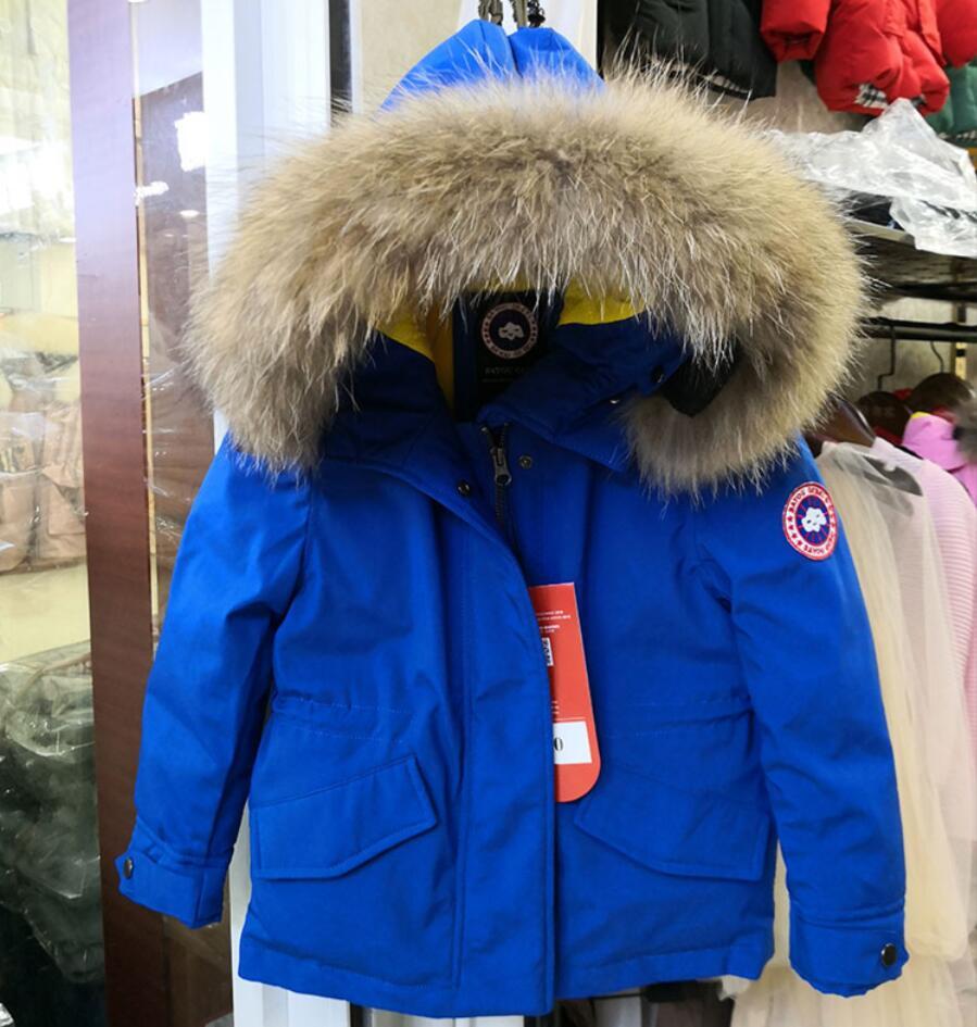 Зимняя Лыжная куртка для маленьких девочек и мальчиков, детский китайский гусиный пух, зимний комбинезон, ветровка, теплая большая парка с м...