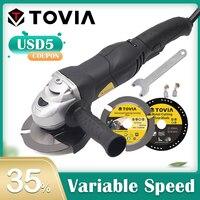 TOVIA 125mm Angle Grinder 950W Grinding Machine Cut Wood Metal Stone M14 Grinder Variable Speed 3000 10500RPM Grinder 220V