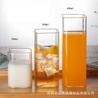 250ml tazza di vetro trasparente quadrato creativo resistente al calore set di bicchieri moderno stile minimalista succo di caffè tazza di latte tazza di birra di ghiaccio