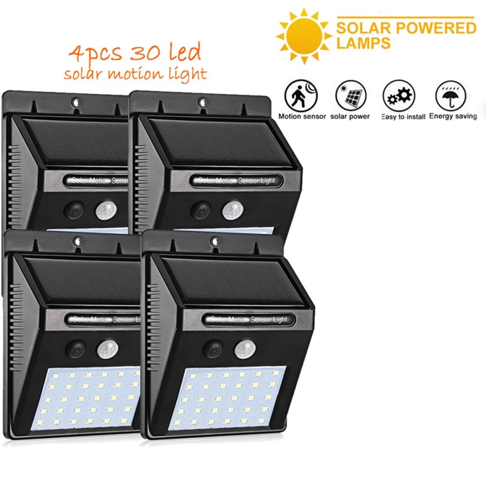 2/4PCS 30 LED Solar Light PIR Motion Sensor Ip65 Waterproof Outdoor Street Wall Garden Lamp Rotable Remote Control 500 LM Guirla