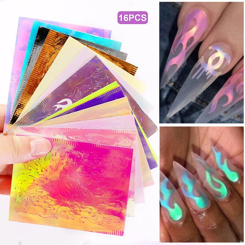 Yaliao 16 pçs/lote fogo holográfico etiqueta do prego folha auto adesivo decalque fino listra laser adesivo diy folha de unha arte do prego adesivo
