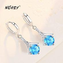 NEHZY – boucles d'oreilles en argent Sterling 925 pour femmes, bijoux de haute qualité, Simple, goutte d'eau, cristal bleu rose, Zircon, nouvelle collection 2021