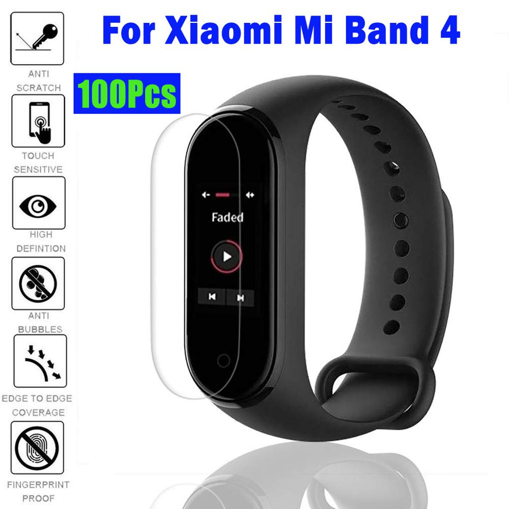 100Pcs/Pack For Mi Band 4 Screen Protector Film For MiBand 4 Smart Wristband MiBand 4 Bracelet Protector Not Tempered Glass