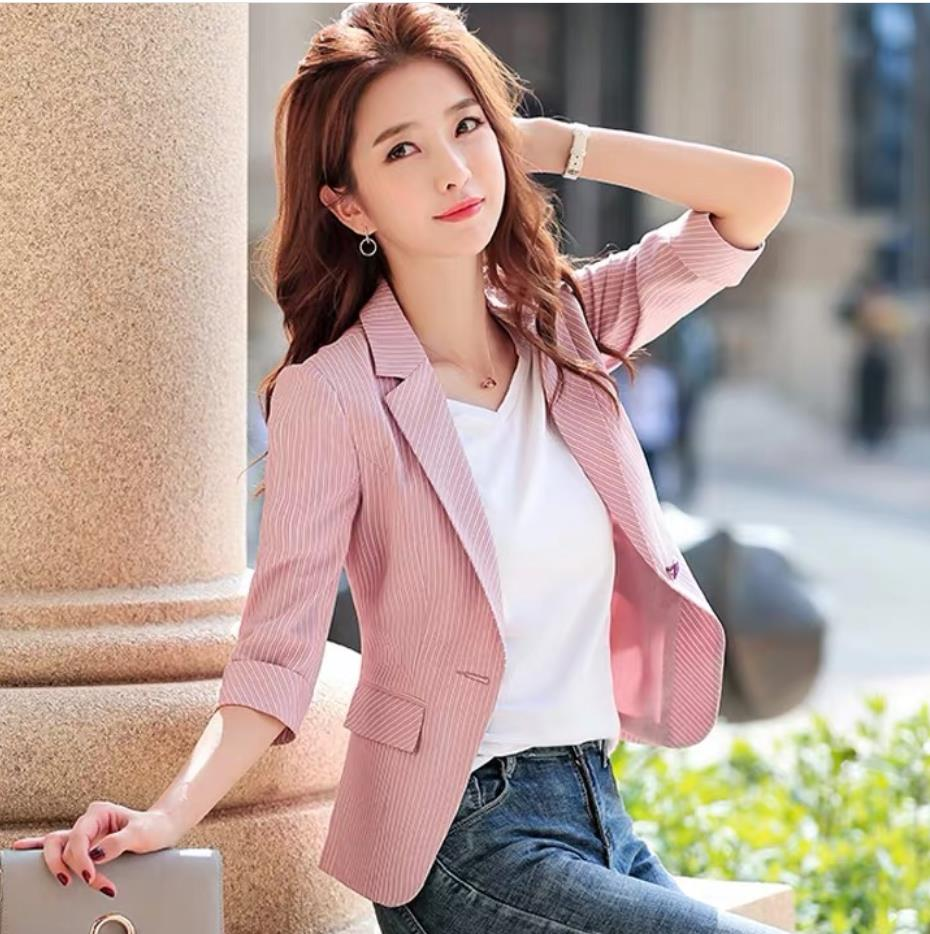 2020 Korean Fashion Women Striped Short Blazers And Jackets Seven Sleeve Outerwear Elegant Ladies Coats Work Wear Pink Plus Size