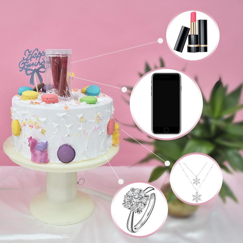 Nova novidade & mordaça brinquedos, aniversário, surpresa, bolo, suporte, pop com caixa de presente surpreendente, bolo mágico, brinquedo legal