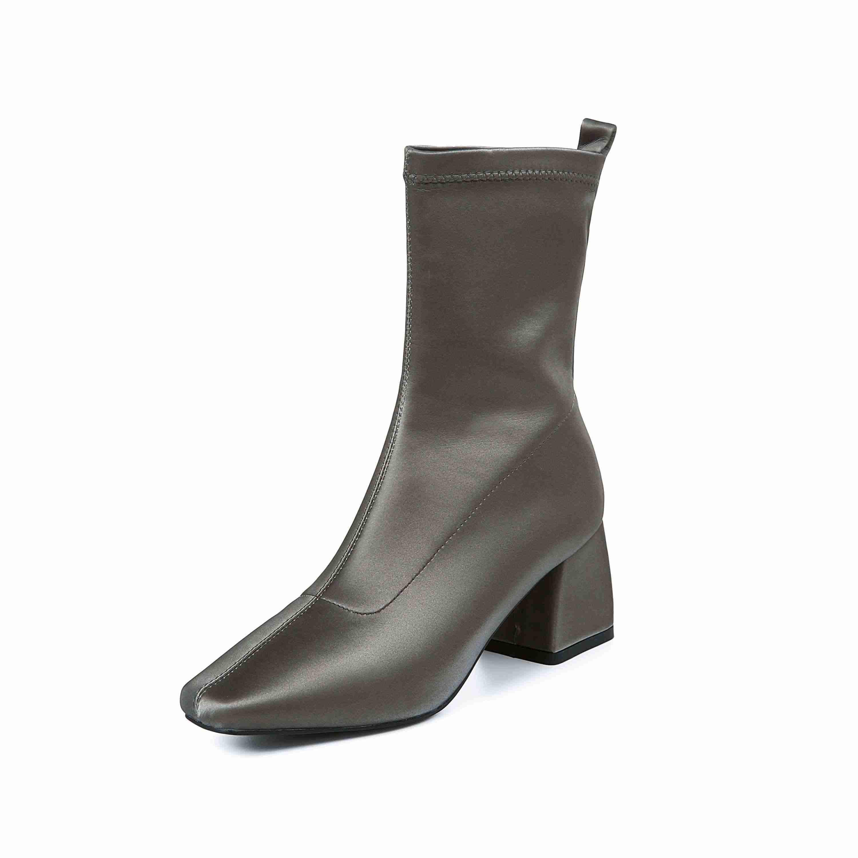 Krazing pot yeni katı asil moda kare ayak med topuklu slip kış günlük giyim tutmak sıcak kadınlar nefes orta buzağı çizmeler L00