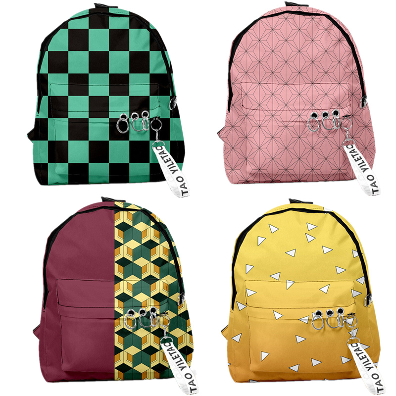 Demon Slayer: Kimetsu No Yaiba Backpack Canvas Bag Kamado Tanjirou School Bags Girl Mochila Feminina Nezuko Notebook Bag Cosplay