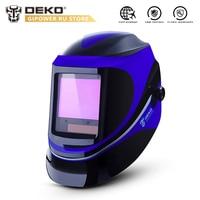 DEKO MZ232 Solar Powered Welding Helmet Auto Darkening Professional Hood Wide Lens Adjustable Shade Range 4/9 13 for Mig Tig