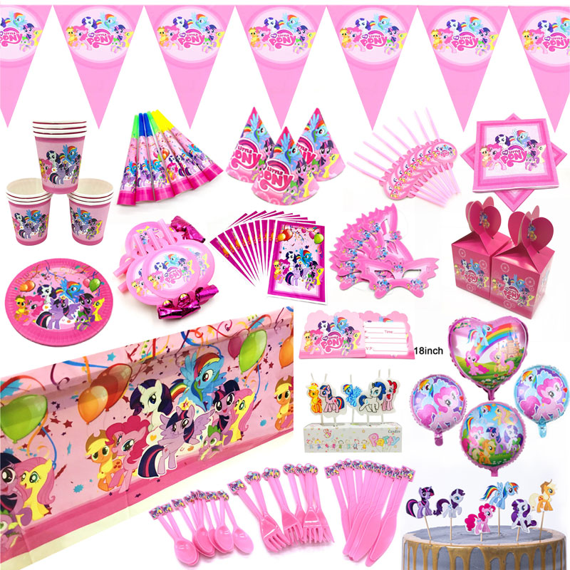 My Little Pony Birthday Party Supplies Decoration Balloons My Little Pony Toys Blowout Napkins Cup Plates Mask Candy Box Banners(China)