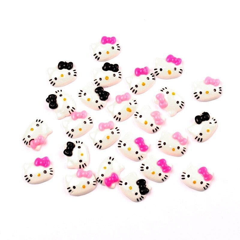 50 шт. смешанные кошки, 15 мм, полимерные свободные бусины, плоский кабошон, аксессуары для рукоделия
