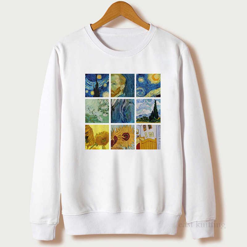 Le donne Van Gogh Pittura Vintage Felpa Moda Pullover Grafica Tumblr Stampato casual Felpe Top