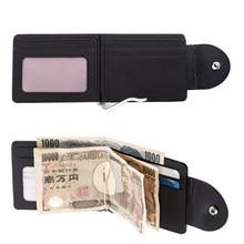 Cartera de cuero de PU con Clip Simple multifunción sólido delgado para tarjetas Portable de moda Color negro monedero