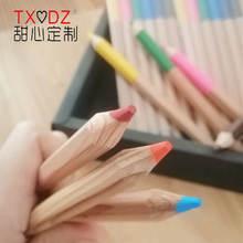 12 цветов толстые короткие шестиугольные карандаши с бревна
