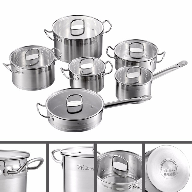 Velaze Cookware Set 12 Piece Stainless Steel Kitchen Cooking Pot&Pan Sets, Induction,Saucepan,Casserole,with Tempered Glass lid 2