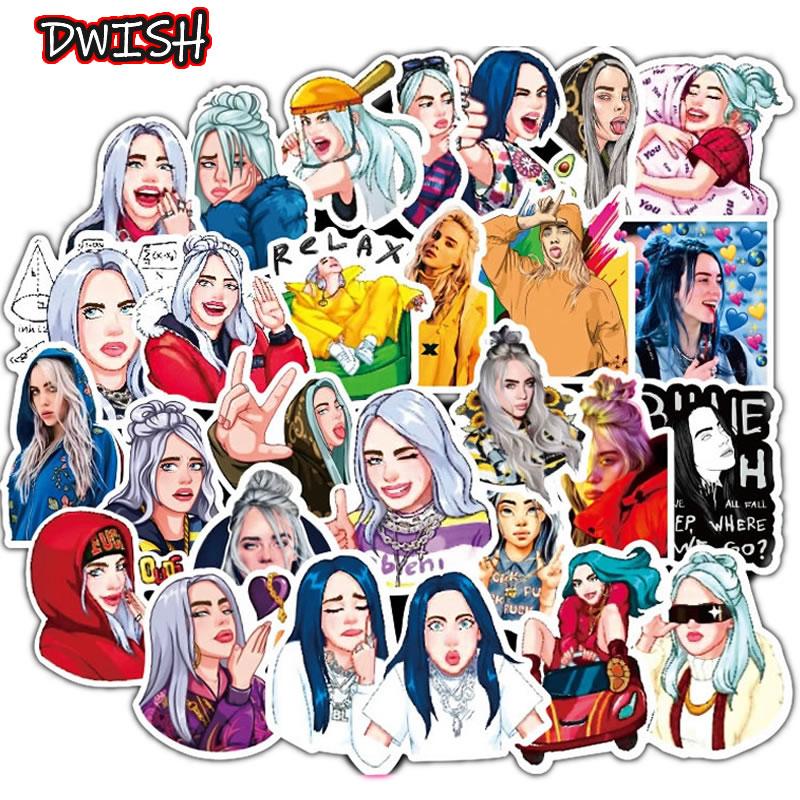 10 30 50pcs Waterproof Billie Eilish Cartoon Girl Stickers Skateboard Guitar Suitcase Freezer Graffiti Sticker Kids