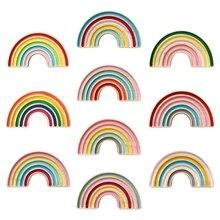 Rainbow Building Block Kids Room Decoration Nordic Style Pine Wooden Ornament