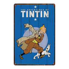 Tintin Cartoon Metal  Signs Plaque Vintage Wall Pub Kids Room Home Art Party Decor Iron Poster Cuadros DU2933