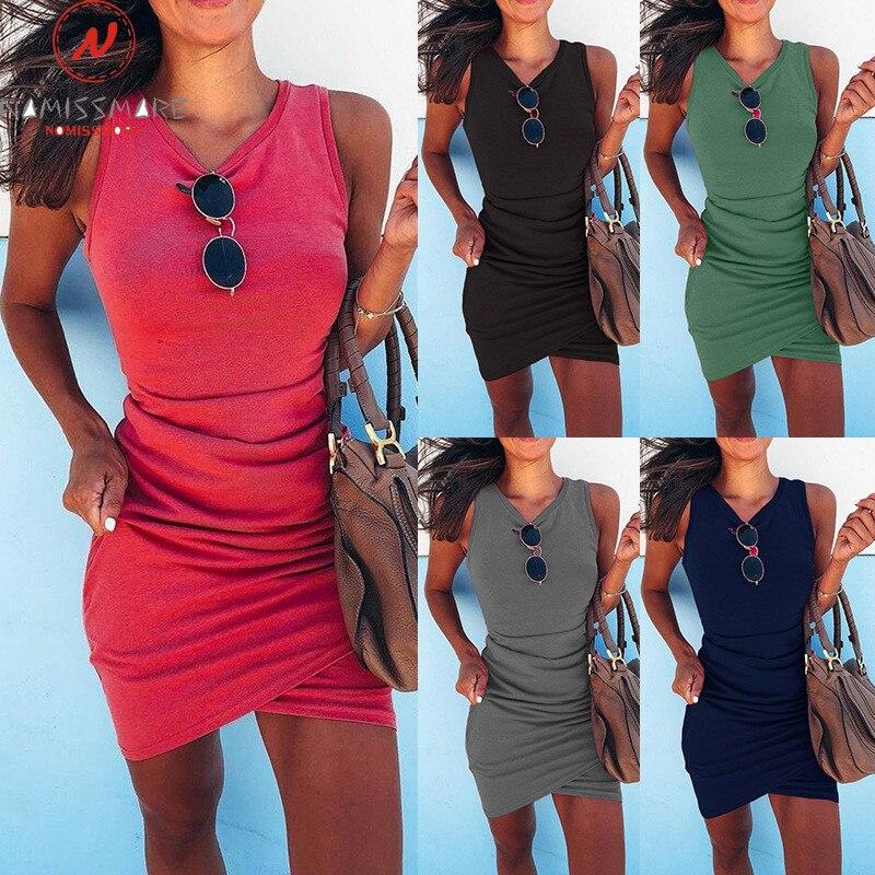 Elegant Women Summer Pencil Dress Irregular Winkle Design Sleeveless O-Neck Solid Color Slim Hips Mini Dress