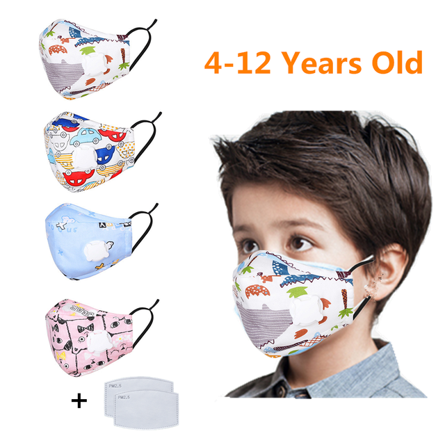 Kids Children Cotton Face Mouth Mask Anti-Dust Cartoon PM2.5 Protective Valve Respirator Reusable Anti Flu Masks With 1 Filter
