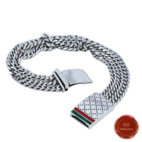 100% S925 sterling silver bracelet jewelry simple jewelry retro fashion red green simple domineering style Valentine's Day gift