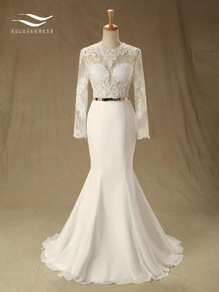 New O-Neck Floor-Length Mermaid Chiffon Wedding Dress With Sash Court Train Zipper Bridal Gown Custom Made Real Photos SL-W651