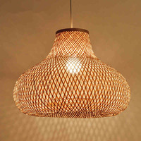 Japanese 40cm Hand Bamboo Wicker Rattan Gourd Shade Pendant Light Led Fixture Suspension Ceiling Lamp Plafon Dining Table Room