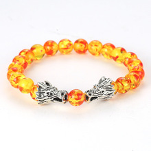 Natural Stone Gold Sand Beads Bracelet Malachite Silver Double Dragon Play Design Charm Bangle for Men  jewelry