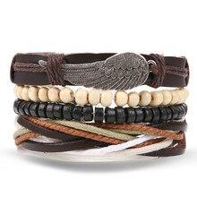 IFMIA 1 Set 4 Pcs Multilayer Leder Armbänder Flügel Holz Perlen Natürliche Armband Beliebte Manschette Frauen Männer Schmuck Pulsera Großhandel