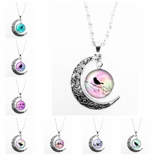 2019 New Hot Colorful Silhouette Bird Pattern Series Glass Cabochon Pendant Moon Necklace Girl Jewelry Gift