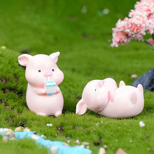 6Pcs/Set Pig Family figurine Animal Model Moss Micro Landscape Home Decor Miniature Fairy garden Decoration Baby Room Decoration 3