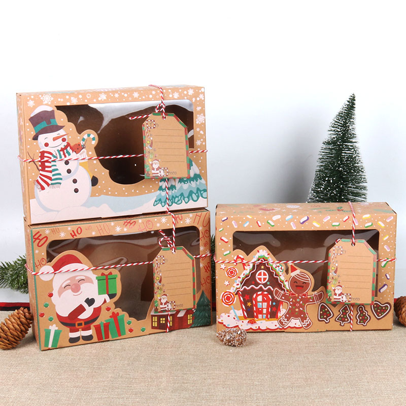 christmas candy cookies bags kraft paper biscuit bag christmas favors decor xmas decorations for home navidad 2020 gift boxes-2