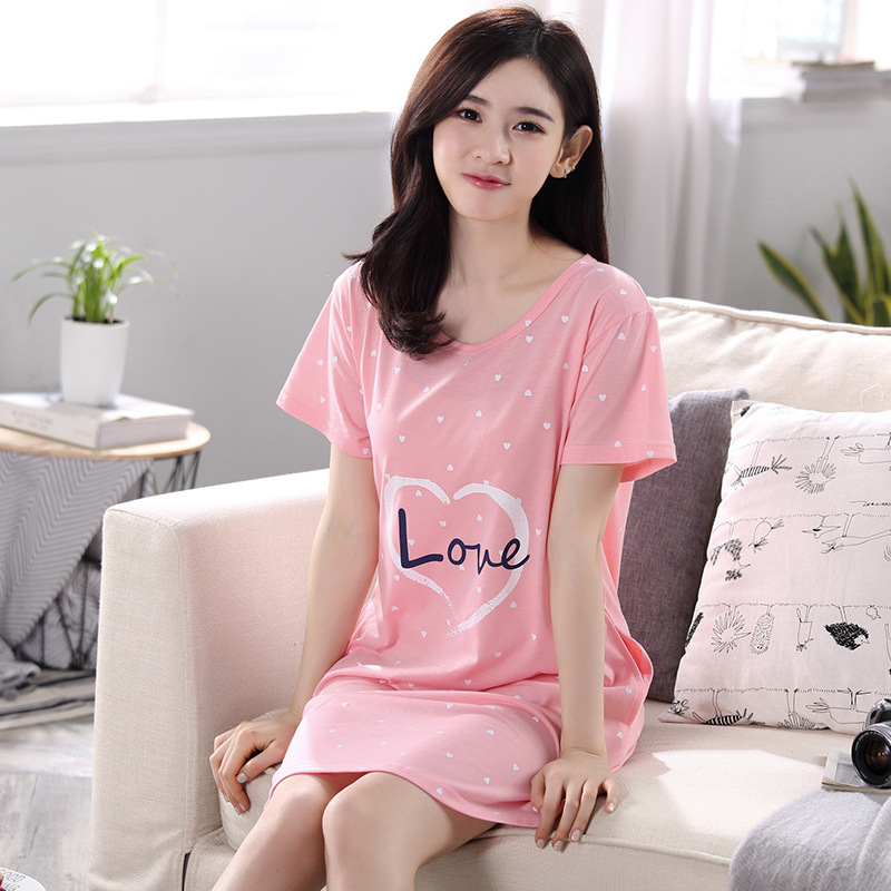 Pajamas Women's Summer Pink Heart Skirt M-XXL 7.5 Yuan A Large Amount In Stock