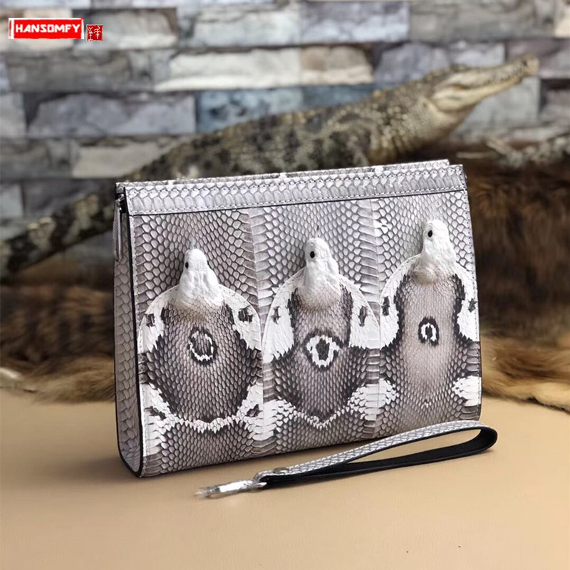 New snakeskin leather men's clutch bag Real cobra head male Large capacity wallet men Clamp bag hand clutch bags