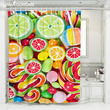 цена на Christmas Shower Curtain 3D Candy Waterproof Fabric Bath Curtain for Bathroom Curtain Kids Shower Curtains rideau de douche