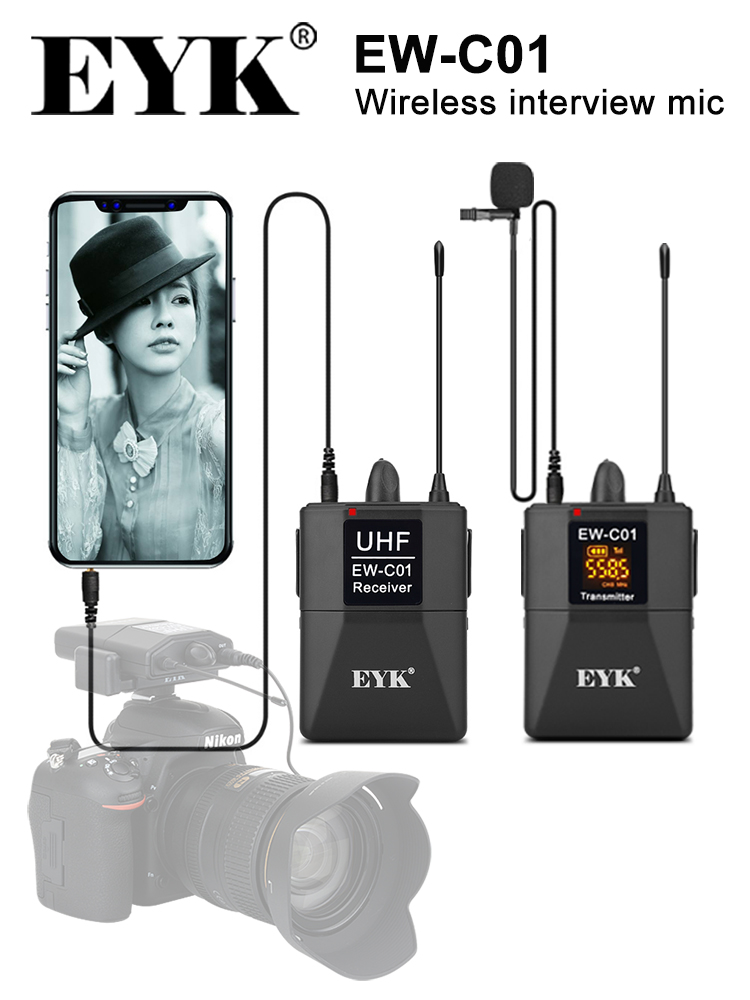 EYK Microphone-System Interview Lapel Mic Slr-Camera Handheld Wireless-Lavalier 30-Channels