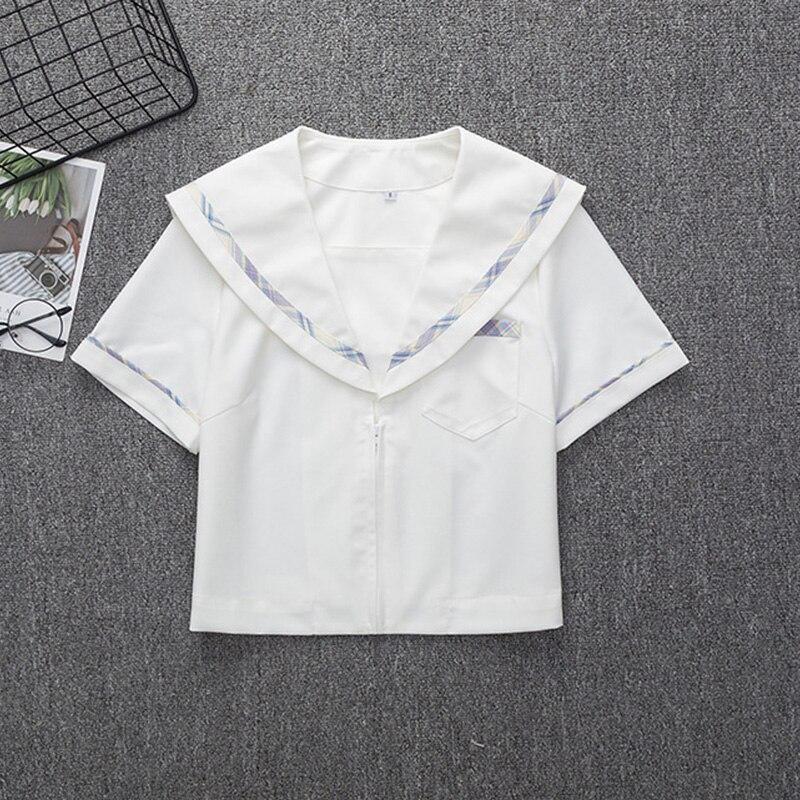 Purple Sailor Suit Women's Summer College Style Japanese JK Short Sleeve School Uniform Suit School Dresses TOP Shirt For Girls