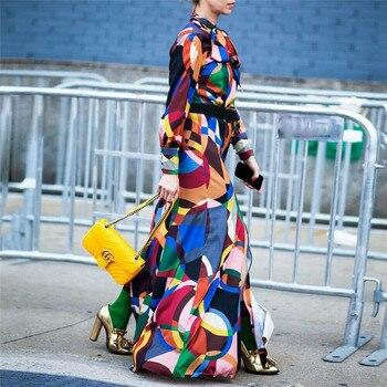 Geometric Print Maxi Dress Women Long Sleeve Bow Collar Split Loose maxi long dresses Autumn Ladies Vintage Maxi Dresses цена 2017