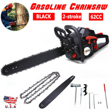 Black 20 Bar 62CC More Power Gasoline Chainsaw Petrol Powered Wood Cutting Chain Saw 2-Stroke Less Noise Durable